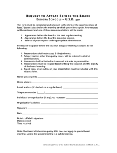 Request to Appear Before the Board Eudora Schools – U.S.D. 491