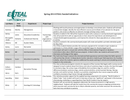 Spring 2014 ETEAL Funded Initiatives
