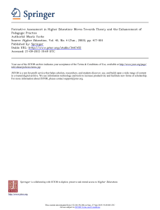 Formative Assessment in Higher Education: Moves Towards Theory and the... Pedagogic Practice