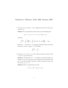 Solutions to Midterm, Math 4200, Summer 2009