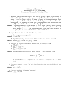 Solutions to Midterm #1 Mathematics 5010–1, Spring 2006