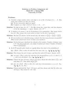 Solutions to Problem Assignment #2 Math 501–1, Spring 2006 University of Utah Problems: