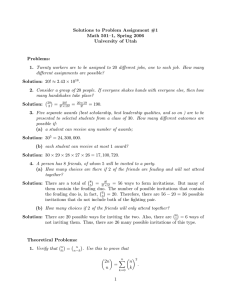 Solutions to Problem Assignment #1 Math 501–1, Spring 2006 University of Utah Problems: