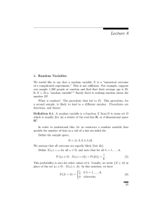Lecture 8 1. Random Variables