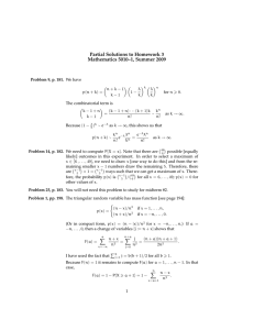 Partial Solutions to Homework 3 Mathematics 5010–1, Summer 2009
