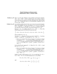 Partial Solutions to Homework 2 Mathematics 5010–1, Summer 2009
