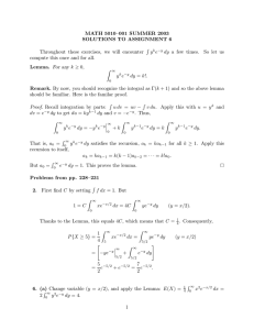 MATH 5010–001 SUMMER 2003 SOLUTIONS TO ASSIGNMENT 6 Lemma. Remark.