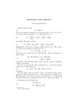 ESTIMATING THE VARIANCE Recall the linear model (1)