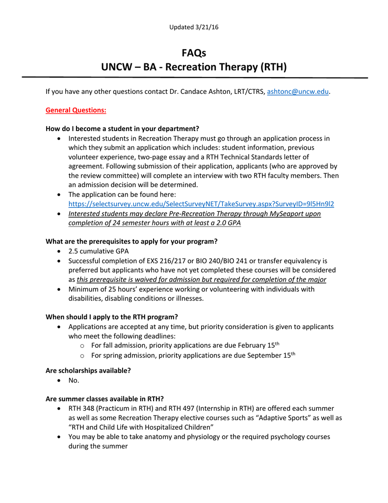 faqs uncw ba recreation therapy rth