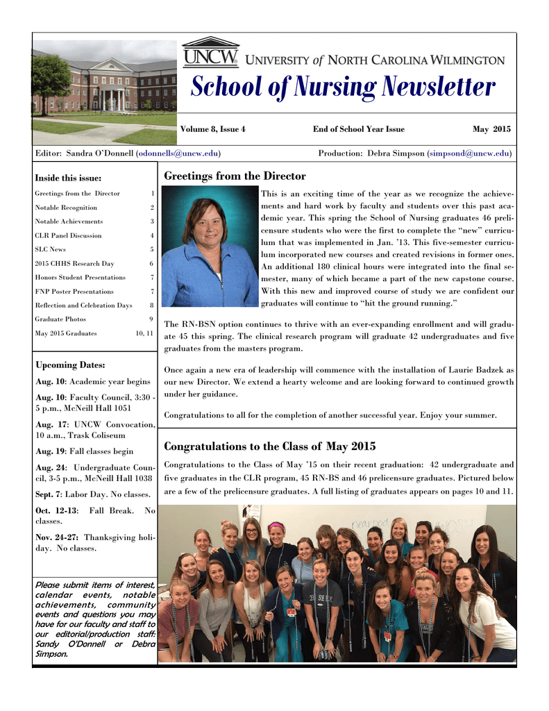 School of nursing newsletter greetings from the director inside this school of nursing newsletter greetings from the director inside this issue m4hsunfo
