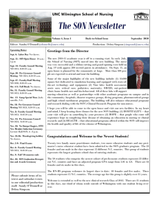 The SON Newsletter UNC Wilmington School of Nursing Greetings from the Director