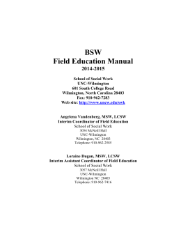 BSW Field Education Manual 2014-2015