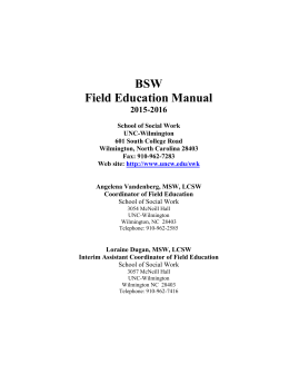 BSW Field Education Manual 2015-2016