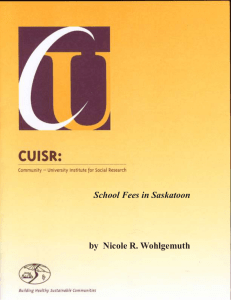 School Fees in Saskatoon by  Nicole R. Wohlgemuth