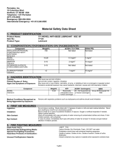 Material Safety Data Sheet 1. PRODUCT IDENTIFICATION