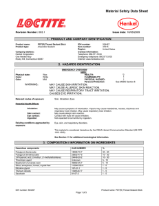 Material Safety Data Sheet  1.  PRODUCT AND COMPANY IDENTIFICATION Revision Number: