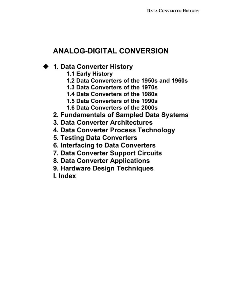 Analog Digital Conversion 1 Data Converter History Octal High Speed A D Converters
