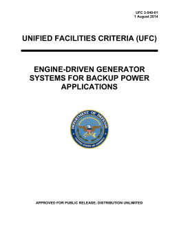 UNIFIED FACILITIES CRITERIA (UFC) ENGINE-DRIVEN GENERATOR SYSTEMS FOR BACKUP POWER
