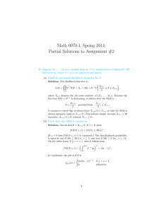 Math 6070-1, Spring 2014; Partial Solutions to Assignment #2