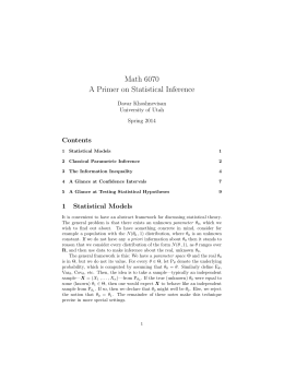 Math 6070 A Primer on Statistical Inference Contents Davar Khoshnevisan