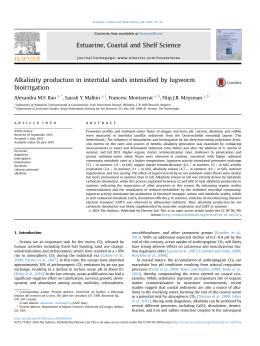 fied by lugworm Alkalinity production in intertidal sands intensi bioirrigation Alexandra M.F. Rao