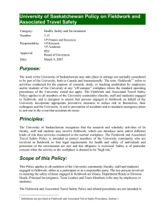 University of Saskatchewan Policy on Fieldwork and Associated Travel Safety