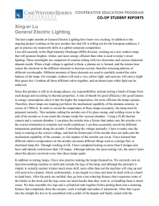 Xing-er Lu General Electric Lighting COOPERATIVE EDUCATION PROGRAM CO-OP STUDENT REPORTS