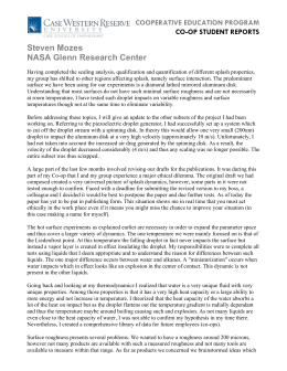 Steven Mozes NASA Glenn Research Center COOPERATIVE EDUCATION PROGRAM CO-OP STUDENT REPORTS