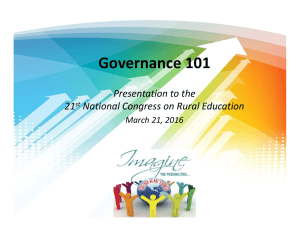 Governance 101 Presentation to the  21 National Congress on Rural Education