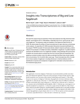 Insights into Transcriptomes of Big and Low Sagebrush