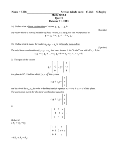 Name + UID:________________________   Section (circle one):  ... Math 2250-4 Quiz 5 October 11, 2013