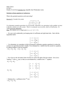 Math 2250-4 Fri Feb 1 Solutions to linear equations in 3 unknowns: