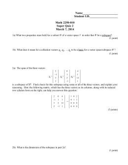 Name________________________ Student I.D.___________________ Math 2250-010 Super Quiz 2