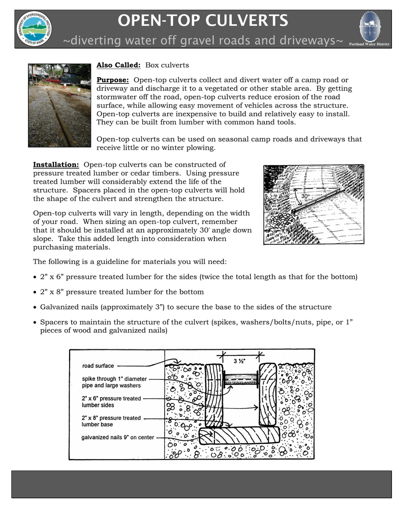 OPEN-TOP CULVERTS ~diverting water off gravel roads and