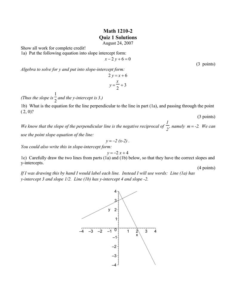 slope intercept form quiz doc  Math 9-9 Quiz 9 Solutions