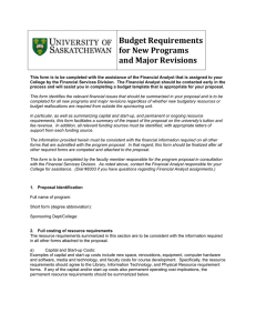Budget Requirements for New Programs and Major Revisions