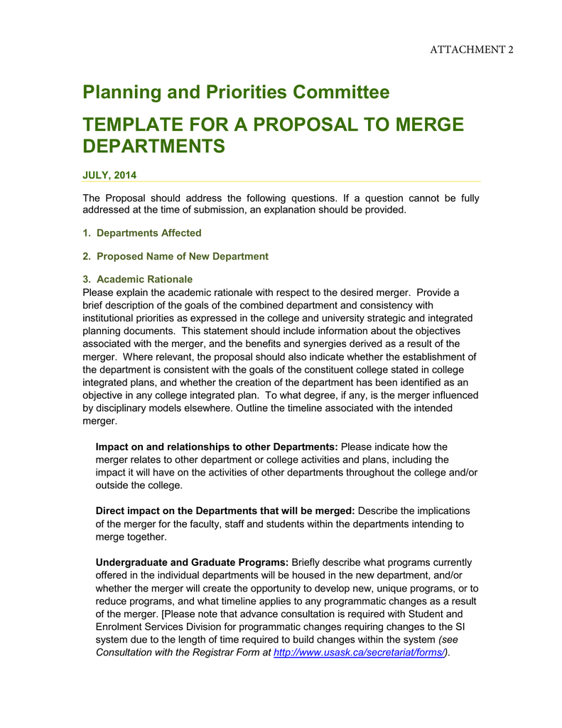 Planning And Priorities Committee Template For A Proposal To Merge Departments Attachment 2