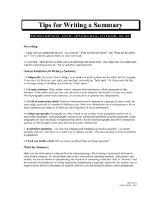 Tips for Writing a Summary  Pre-writing: