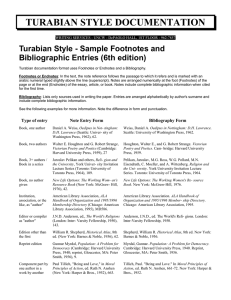 TURABIAN STYLE DOCUMENTATION Turabian Style - Sample Footnotes and