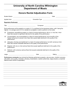 University of North Carolina Wilmington Department of Music Honors Recital Adjudication Form