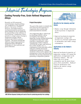 Industrial Technologies Program Casting Porosity-Free, Grain Refined Magnesium Alloys