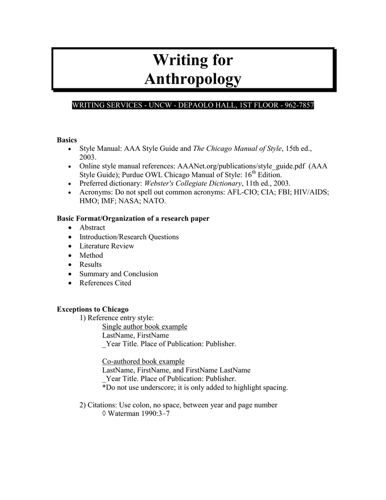 cultural anthropology research paper suggestions