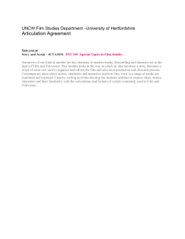 Articulation Agreement –University of Hertfordshire UNCW Film Studies Department