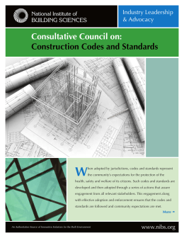 W Consultative Council on: Construction Codes and Standards Industry Leadership