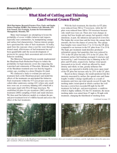 What Kind of Cutting and Thinning Can Prevent Crown Fire s? Research Highlights