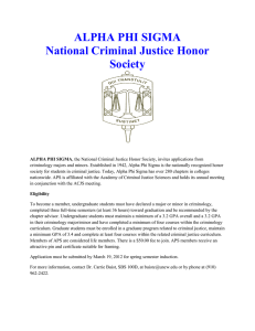 ALPHA PHI SIGMA National Criminal Justice Honor Society