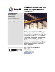 """Continental Air uses total floor space with LOUDEN multiple runway crane"""