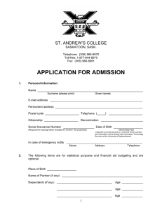 APPLICATION FOR ADMISSION  ST. ANDREW'S COLLEGE .