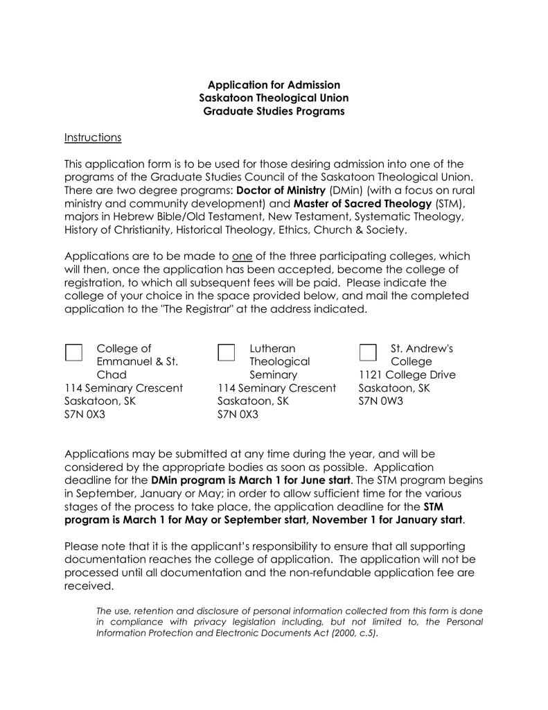 Application for Admission Saskatoon Theological Union