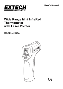 Wide Range Mini InfraRed Thermometer with Laser Pointer User's Manual
